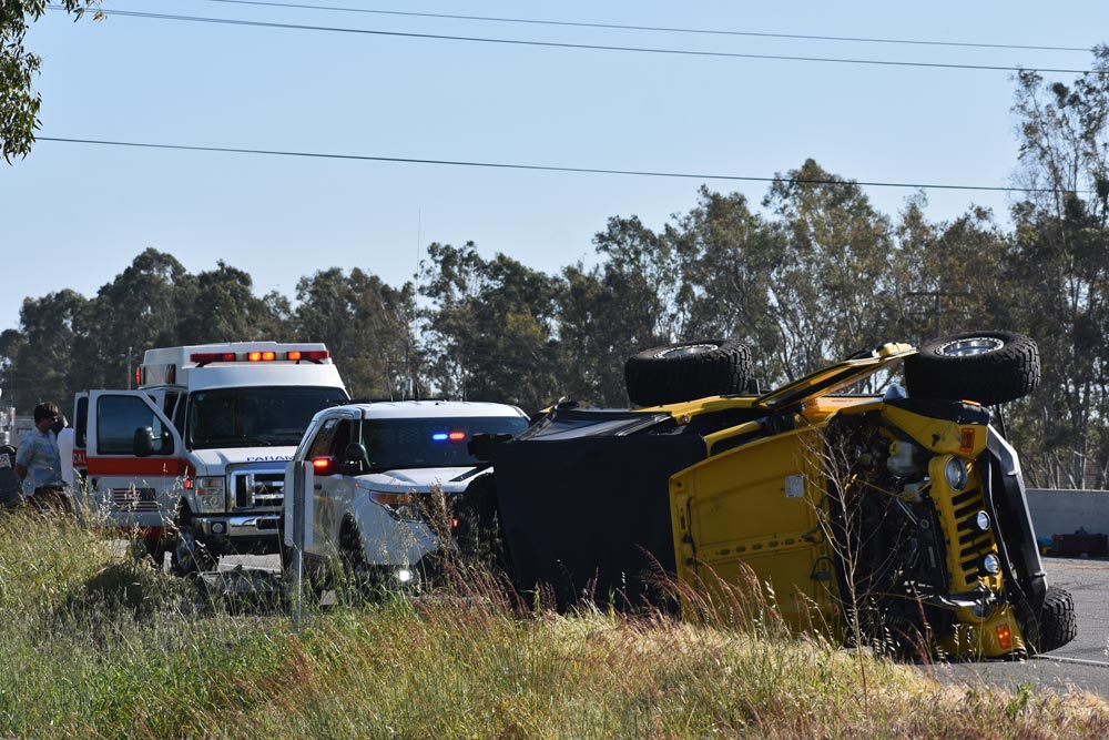 Two vehicles rolled over after a crash on Highway 101 south of Betteravia Road in Santa Maria on Tuesday afternoon.
