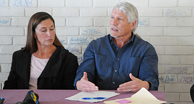 Social worker Ken Williams, speaking to the media in 2010 as part of a panel of homeless advocates, including Dr. Lynn Jahnke, left, suddenly resigned last week after 35 years working with Santa Barbara County.