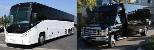The newest additions to the Santa Barbara Airbus fleet: a 2013 MCI J4500 56-passenger motor coach, left, and one of two 2013 Ford 21-passenger mini-coaches. (Santa Barbara Airbus photos)