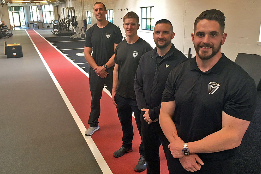 From left, Lucas Miller, laboratory director, Dr. Riley O'Hagan, director of physical therapy, Bray Yancey, director strength & performance, and Evan Pratt oversee Variant Training Lab, a State Street fitness center in Santa Barbara that uses data to improvement conditioning and performance.
