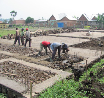 The foundation begins to take shape for the Ubumwe Preschool Project in Rwanda.