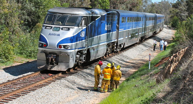 <p>Santa Barbara city firefighters and other emergency personnel responded Sunday afternoon to the railroad tracks near Las Positas Road after a pedestrian was struck and killed by an Amtrak train.</p>