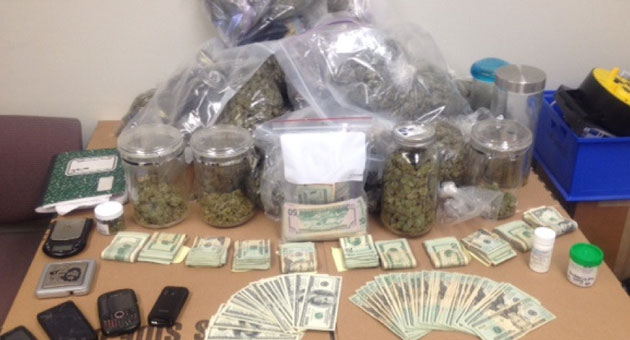<p>Several pounds of marijuana and more than $14,000 in cash were seized Sunday after an Isla Vista man was arrested on public-intoxication charges. He is now facing more serious drug charges.</p>