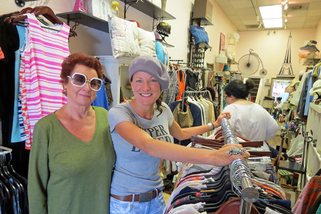 "Barbara Reed, right, is working to get her business, Barbara's Consignment Concierge, off the ground at its new location at 1101 State St. in downtown Santa Barbara. Her mom, Diane Brod, has been helping out. ""I want people to walk in and get a deal on a pair of jeans or get a present as a tourist,"" Reed says. ""I want to create that kind of world."""