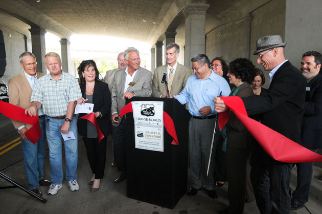 <p>State, Santa Barbara County and city officials gather Monday to cut the ribbon on the newly completed Cacique Street undercrossing.</p>