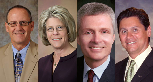 <p>The four finalists for SBCC&#8217;s president/superintendent position are, from left, Dr. Willard Lewallen, Dr. Lori Gaskin, David Viar and Eloy Oakley.</p>