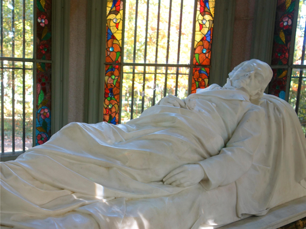 Marble statue of Henry Shaw in the mausoleum.