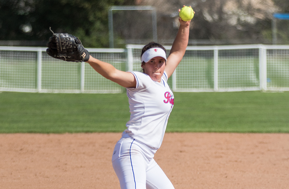 Lefty Aliyah Huerta-Leipner pitches for San Marcos High softball against Dos Pueblos.