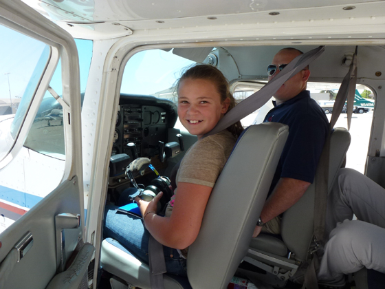 <p>Joanna Rosenbalm of Tennessee sits in a plane during one of last year's Youth Aviation Academies. Joanna's father was Channel Island Aviation's first employee in 1976.</p>