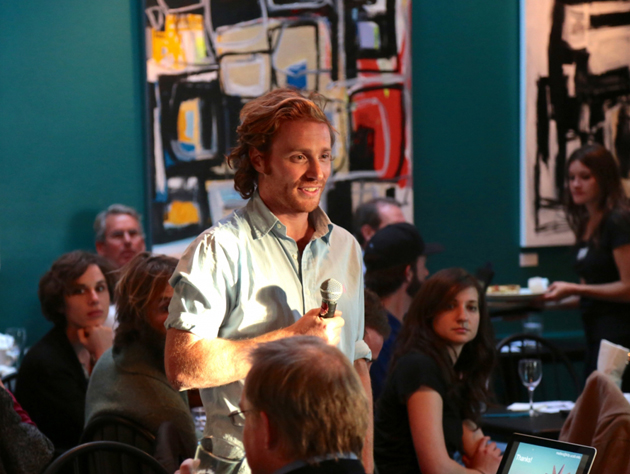 <p>UCSB astrophysicist Matteo Cantiello answers audience questions at the first Café KITP on Wednesday night at SOhO.</p>