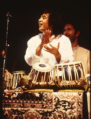 Tabla master Zakir Hussain has played with a range of artists since following in his father's footsteps on stage.