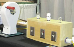 SCEEP will use a hand-crack device to demonstrate the energy needed to power different light bulbs.