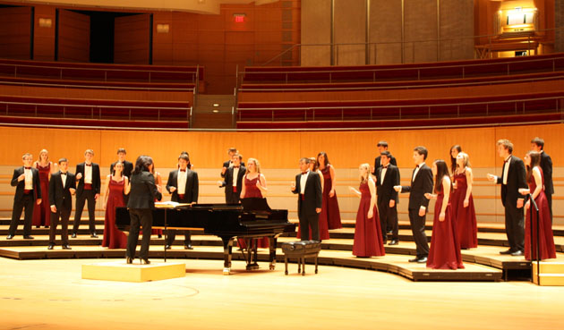 The San Marcos High School Madrigals perform at the National Invitational Choral Festival of Gold held last month at the Sergerstom Center for the Arts in Costa Mesa.