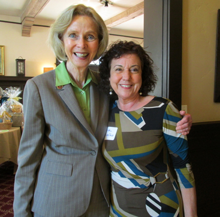 Rep. Lois Capps, D-Santa Barbara, left, with attendee Jina Carvalo.