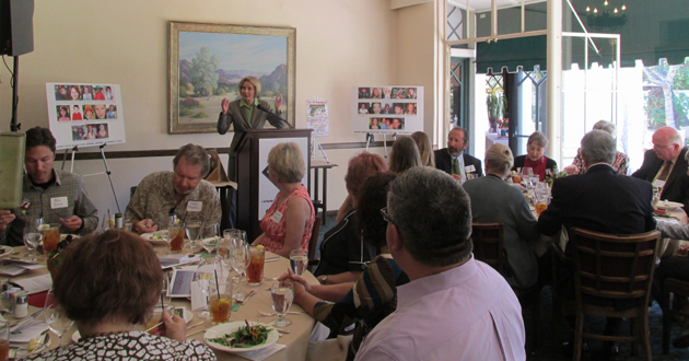 Rep. Lois Capps talks about her anti-gun legislation during the event, held at the Santa Barbara Club.