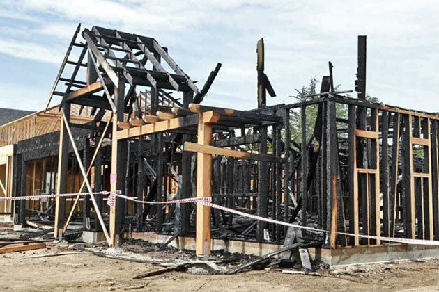 A farmworker housing project under construction in Nipomo was struck by a suspected arsonist late Wednesday night.