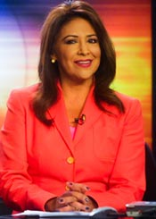 KEYT News anchor Paula Lopez during her April 8 return to the air. (Lara Cooper / Noozhawk photo)