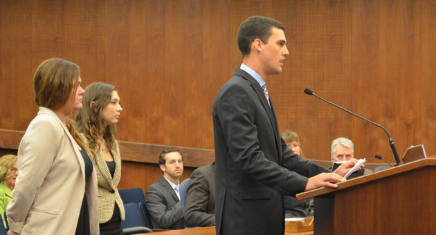 <p>UCSB student leader Alex Moore addresses the Santa Barbara County Board of Supervisors on Tuesday, saying that he and other students are outraged at the violent behavior in Isla Vista during the Deltopia street party on Saturday, and want to work with the county to solve the problem.</p>