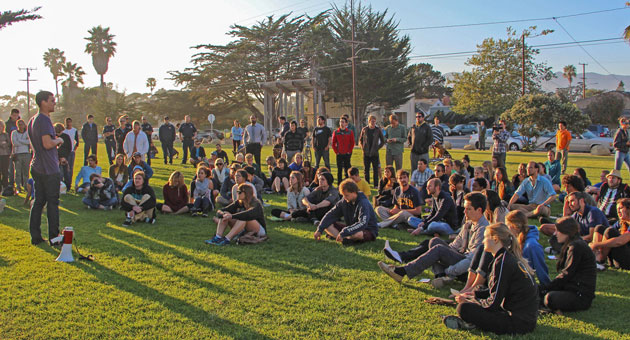 <p>Students, community members, UCSB officials as well as police and fire officials gathered in Isla Vista this week to discuss the violence that flared last weekend at the Deltopia street party.</p>