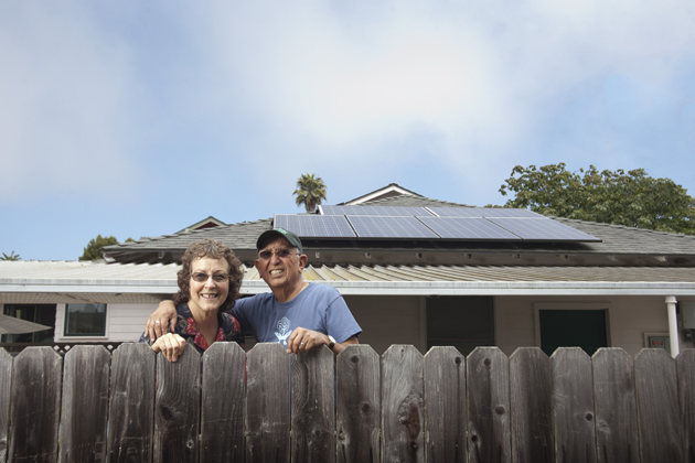 <p>Joy and Gilbert Robledo use the solar panels they installed on their Santa Barbara home to power their Nissan Leaf electric vehicle.</p>