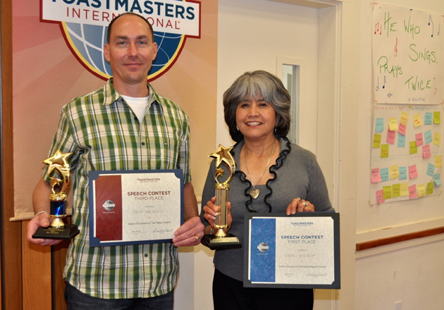 <p>David Machacek of the Whitehatters Ovation Toastmasters Club earned third place and Carol Sauceda of the Whine and Dine Toastmasters Club brought home the first-place trophy from the Toastmasters Division E contest held March 29 in Los Olivos.</p>