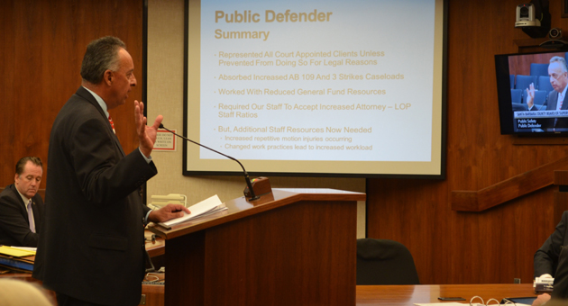 <p>Santa Barbara County Public Defender Rai Montes de Oca, speaking at Tuesday&#8217;s budget workshop, says he wants to bring back several legal office professionals to his department.</p>