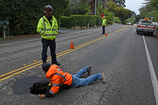 A sinkhole appeared on East Valley Road in Montecito Friday afternoon.