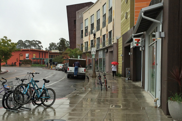 Rain falls on Isla Vista Friday morning as the first of two expected storms moving through Santa Barbara County.