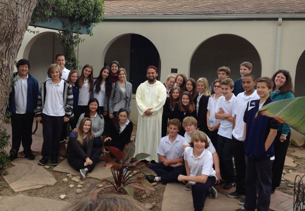 <p>Eighth-grade students in Marymount of Santa Barbara&#8217;s Comparative Religions course visit with Imam Yama Niazi from the Islam Society of Santa Barbara.</p>