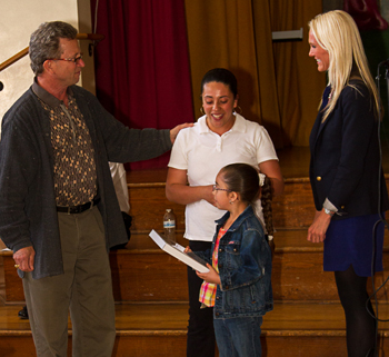 Rotarian Tom Jacobs honors Suzanna Contreras and daughter Cynthia Gutierrez, joined by Adams Elementary School Principal Amy Alzina, as Rotary Club of Santa Barbara North's Adams Family of the Month for April. (Rotary Club of Santa Barbara North photo)