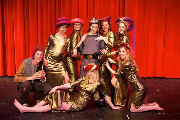 Anika Backlin-Harrison, top from left, Andrea Schmidt, Jordan Lemmond, Mackenize Zisser and Sable Layman; bottom from left, Clayton Barry, Brenna Gerlach and Jessica Barry star in Santa Barbara High School's production of Spamalot. (Santa Barbara High School photo)