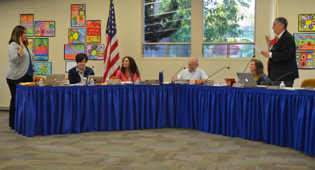 <p>New Goleta Union School District Board of Trustees member Luz Reyes-Martin takes the oath of office Wednesday night.</p>