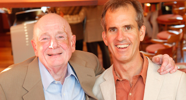 <p>Dr. Raymond Moody, left, with Shared Crossing Project founder and executive director William Peters during a cocktail reception at the Coral Casino.</p>