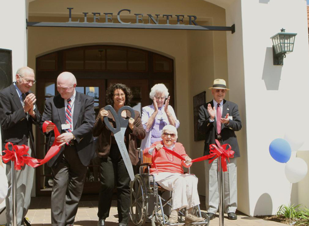 <p>Cutting the ribbon and officially opening the 9,527-square-foot LifeCenter at The Samarkand retirement community in Santa Barbara are, from left, John Kennedy, newly elected president of The Samarkand Residents' Council; Covenant Retirement Communities President Rick Fisk; Santa Barbara Mayor Helene Schneider; resident Jeanne Michealsen, who contributed input on space usage; Alice Tooker (seated), The Samarkand's highest seniority resident; and Samarkand resident Don Archer, chair of the resident architectural review committee.</p>