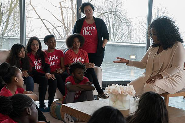 During the filming of a commercial celebrating the one-year anniversary of Teavana Oprah Chai, Oprah Winfrey took time out to talk about education with girls from the Girls Inc. affiliate in New York, many of whom appear in the commercial.