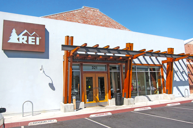 Outdoor gear retailer REI occupies the largest portion of the center at State Street and Highway 101 in Santa Barbara.