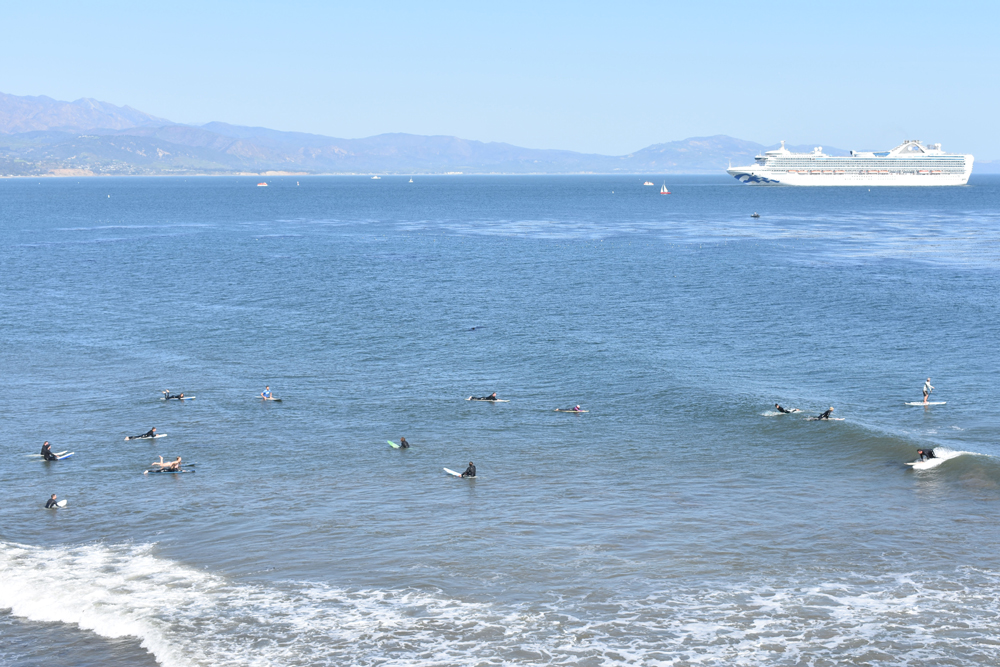 A Grand Princess cruise ship visits the South Coast Monday, when the Santa Barbara and Santa Maria airports measured record high temperatures.