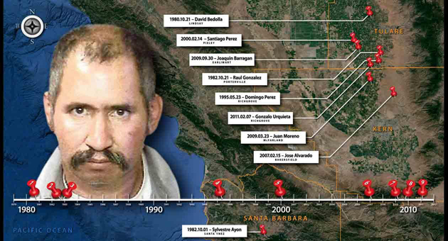 <p>A chart created by the Tulare County District Attorney&#8217;s Office shows nine slayings in California that Jose Manual Martinez has been charged with, including a 1982 murder in Santa Barbara County.</p>