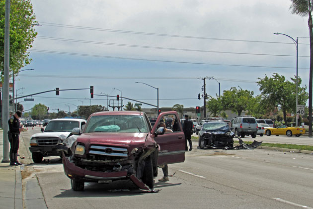 Four vehicles were involved in a crash Friday afternoon on South Broadway between Battles Road and Enos Drive in Santa Maria.