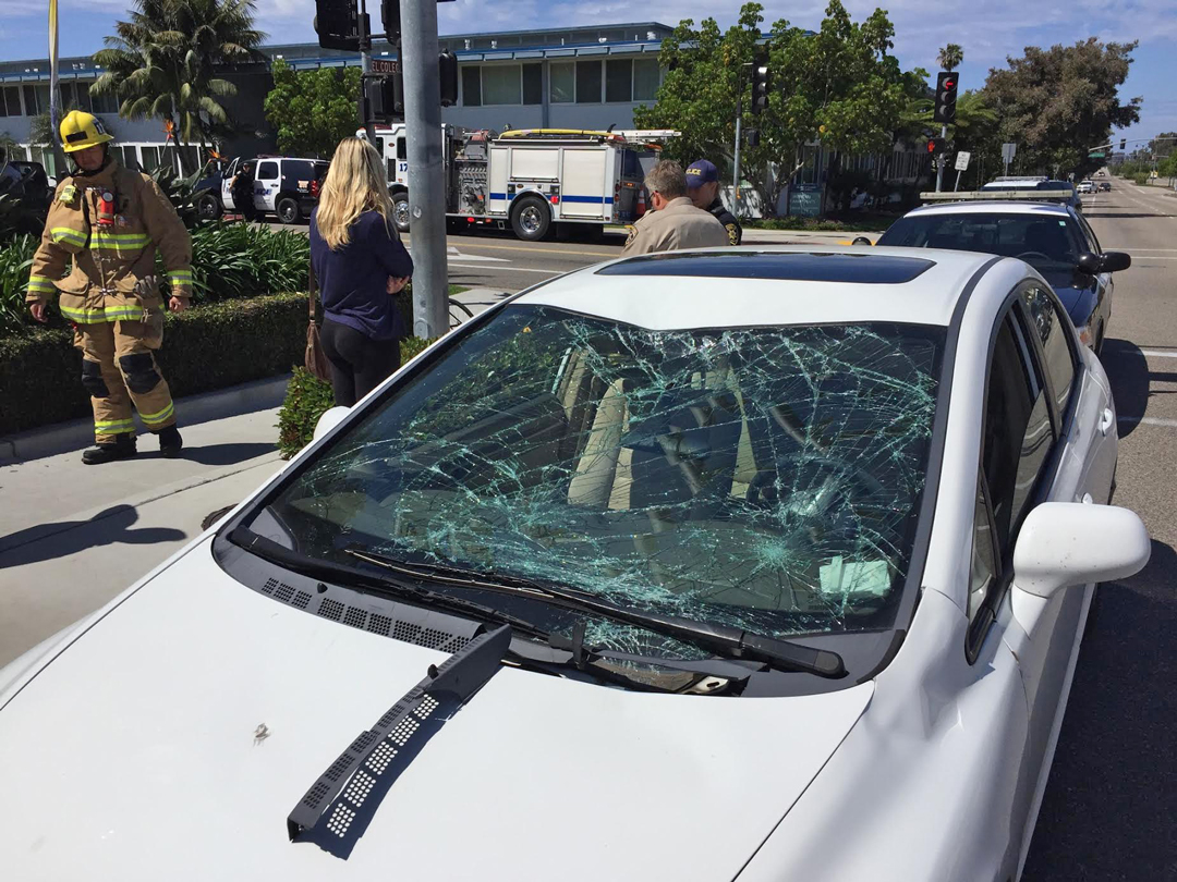 A bicyclist was injured Monday morning after being hit by a vehicle in the intersection of El Colegio Road and Embarcadero del Norte in Isla Vista.