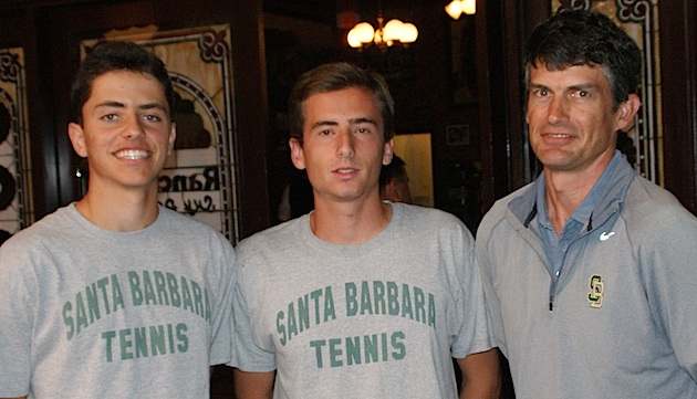 Santa Barbara High tennis coach Greg Tebbe (right) has gotten four great years from Logan Lender, left, and Jackson Powell