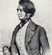 Lithograph of Hector Berlioz by August Prinzhofer in Vienna circa 1845.