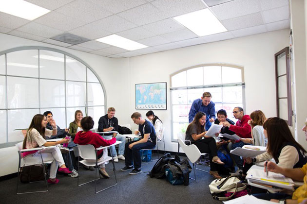 Education First International students study at the downtown Santa Barbara center.