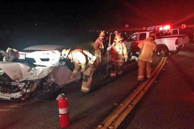 Two people suffered minor injuries early Monday in a head-on collision on Highway 154 at Windy Gap.