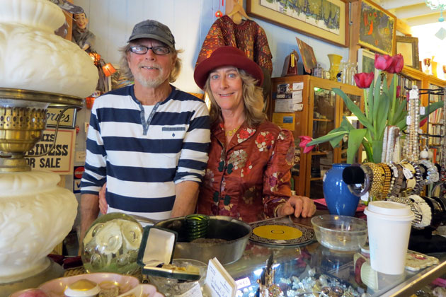 Debbie Moore, with husband Larry Jones, says construction in Santa Barbara's Funk Zone has led to the demise of their antique store, The Mermaid's Chest.