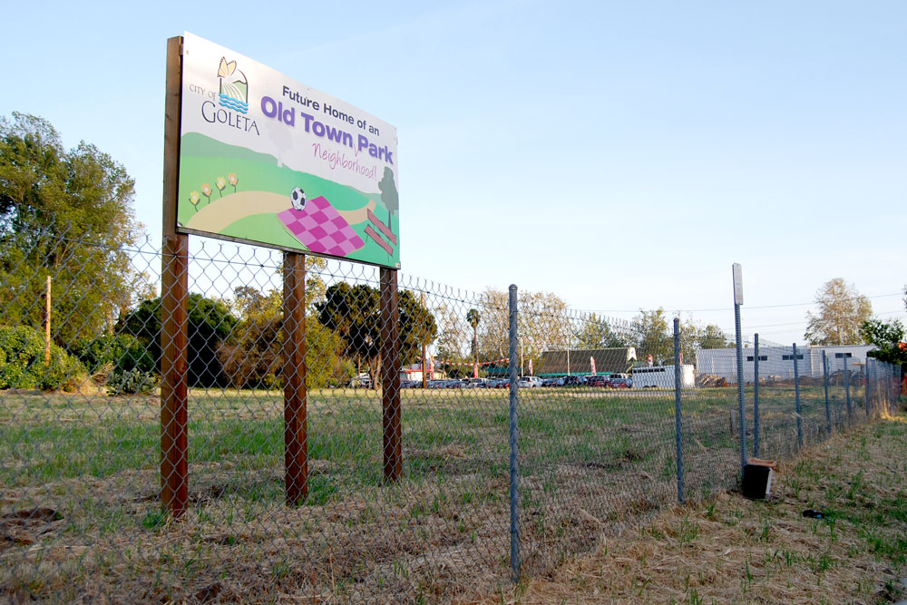 Plans for a neighborhood park on Kellogg Avenue in Old Town Goleta remain on hold while the city settles ownership issues related to the 4-acre parcel.