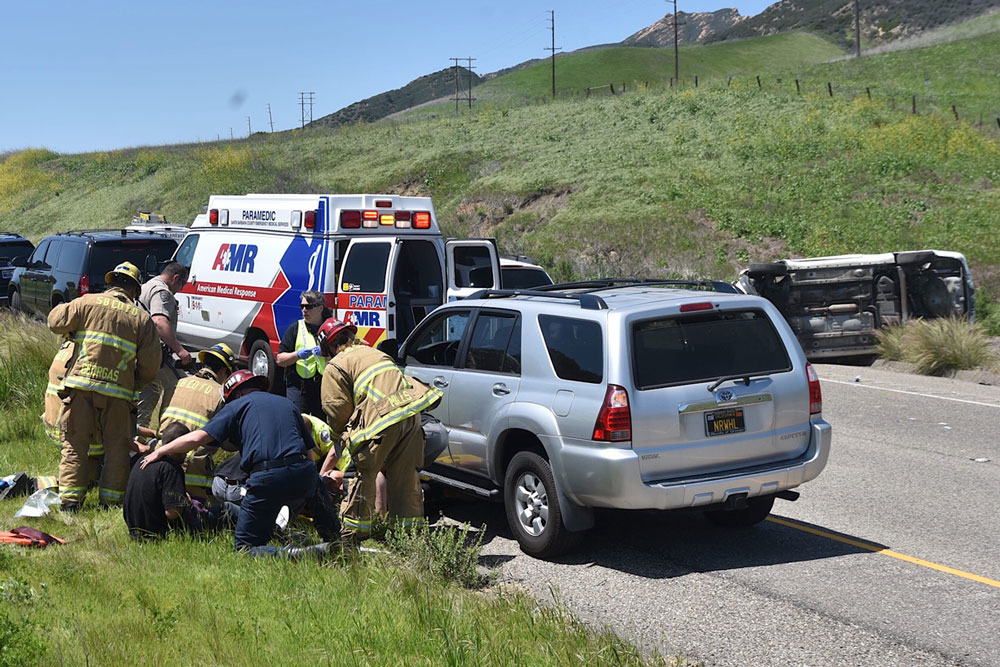Three people were seriously injured Friday afternoon in a rollover crash on Highway 101 near Tajiguas.