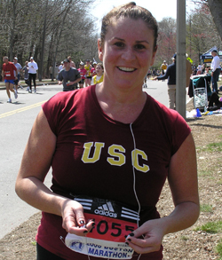 Jennifer Gamberdella, who for six years has run the Boston Marathon to raise money for autism research, finishes the 2008 race.