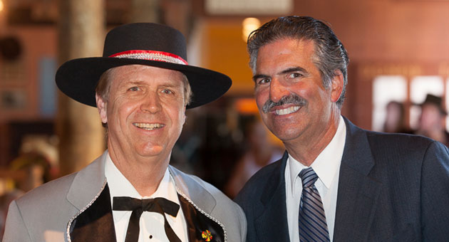 <p>El Presidente Dennis Rickard enjoys a light moment with KEYT News reporter John Palminteri during this week&#8217;s kickoff for the annual Old Spanish Days Fiesta in Santa Barbara.</p>
