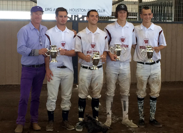 <p>The Westmont men's polo team, from left, coach John Westley, Jake Bergman, David Samaniego, Patrick Uretz and Tony Uretz, celebrate their first-place finish in the 2014 United States Polo Association's National Intercollegiate Championships.</p>
